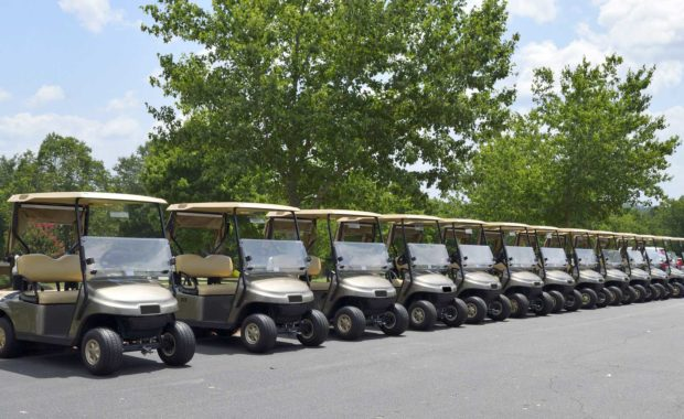 Houston lawyers Oweyssi Law protects you from product liability - row of golf carts.